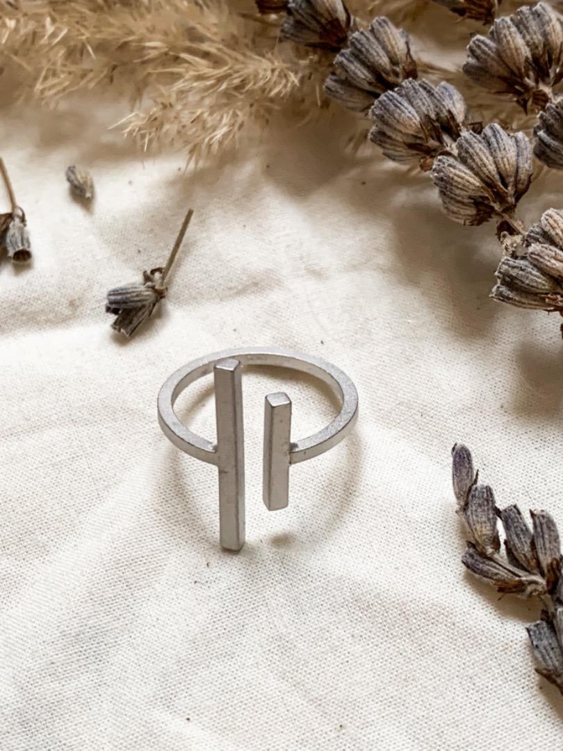 Ring - zwei Stäbe silber