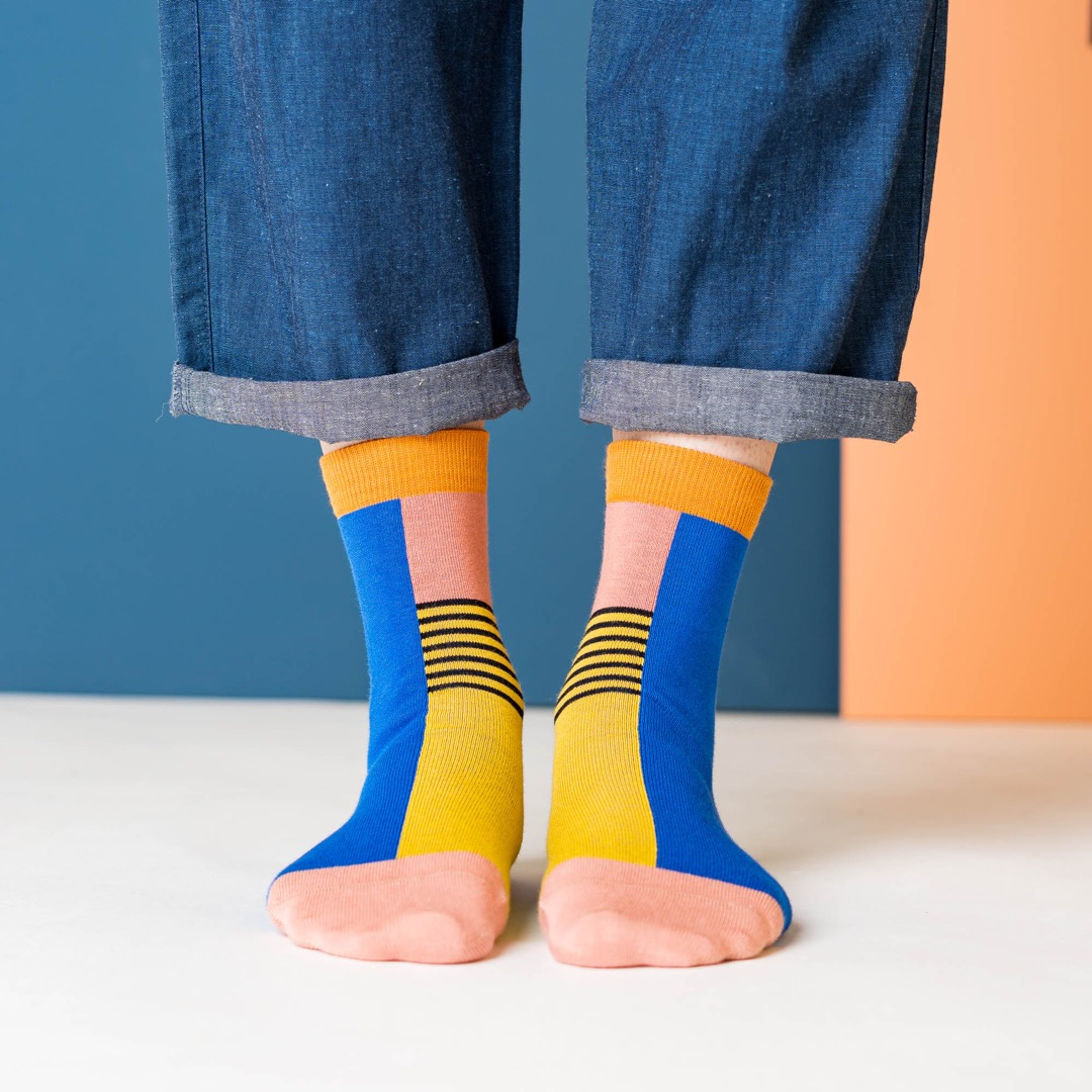 nice socks - halb/halb yellow 2