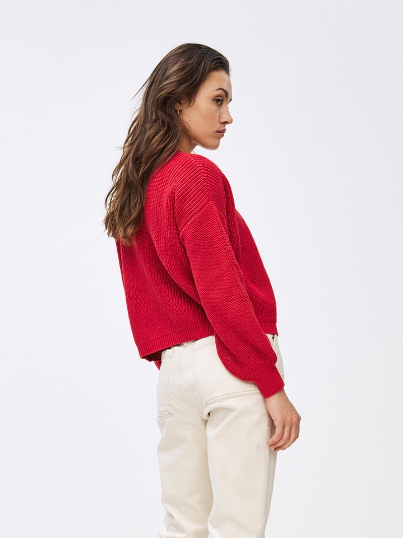 bar cotton cardigan - red 7
