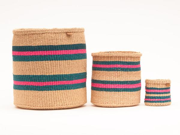 NDOTO Turquoise Pink and Sand Woven