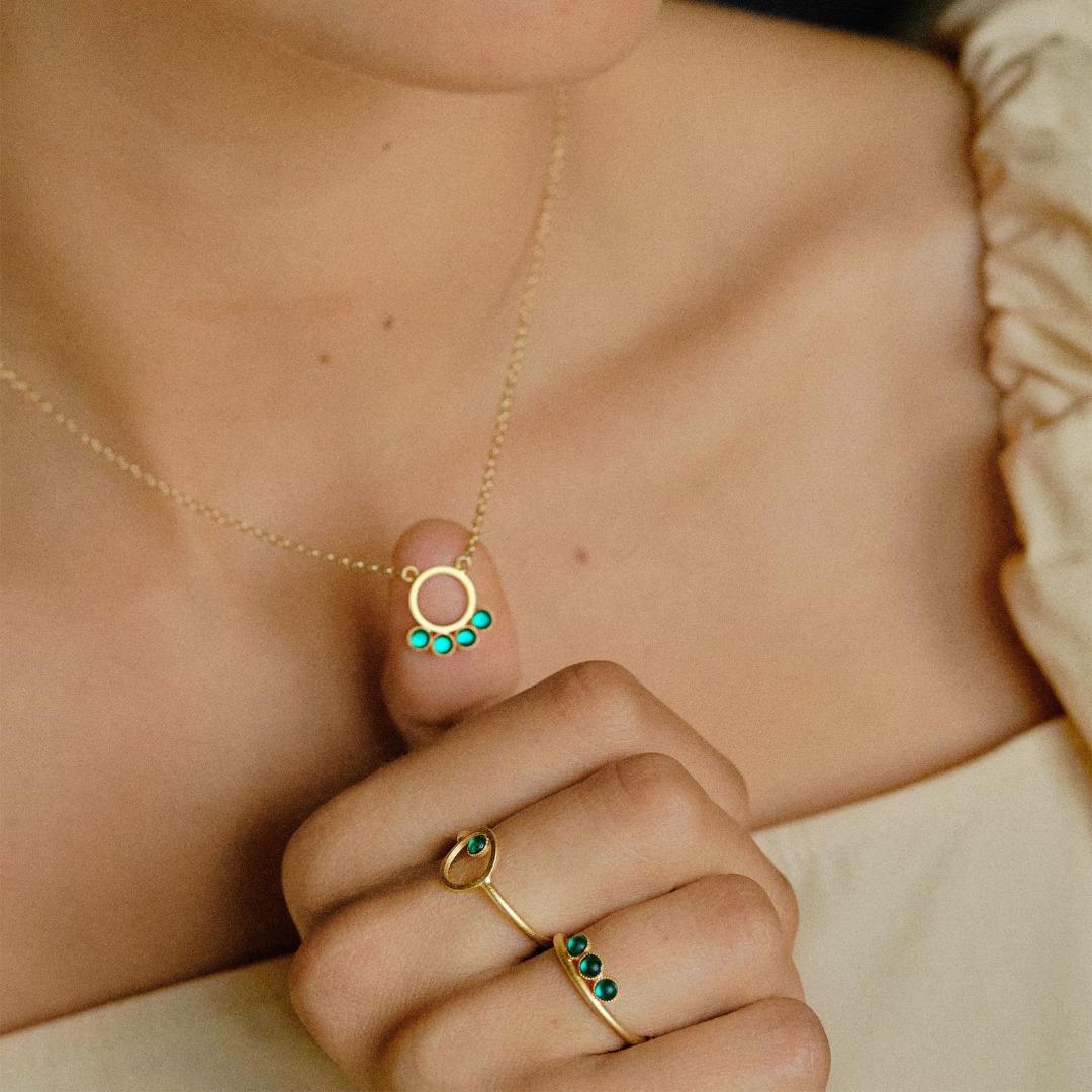 Minimalistische Kette vergoldet mit Kreisanhänger und