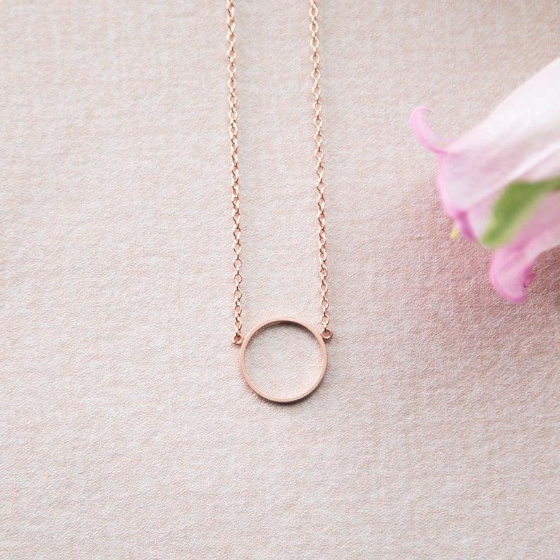 Schlichte rosé goldene Kette Kreis Ring