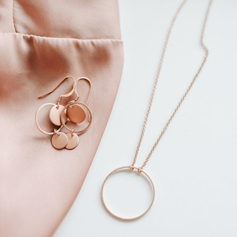 Minimalistische Kette rosé matte Ringkette 2