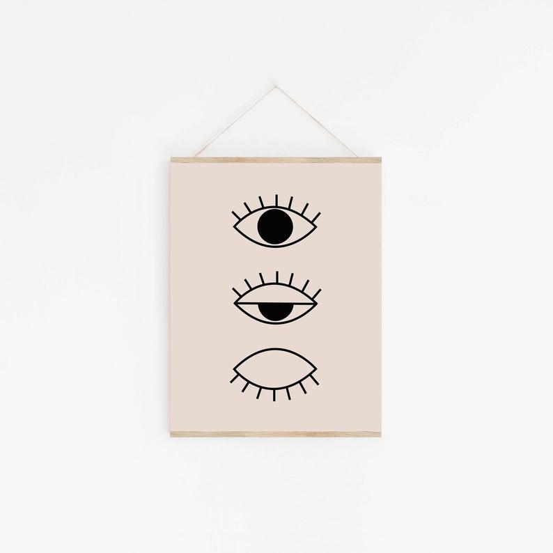 Kunstdruck Line Drawing Eye Beige/Black A4