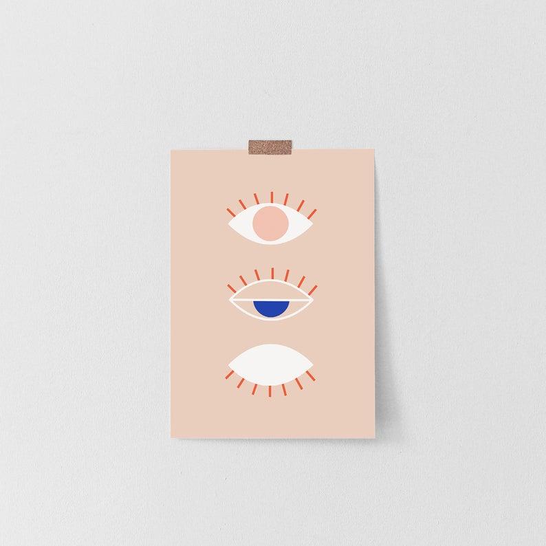 Postkarte - Line Drawing Eye