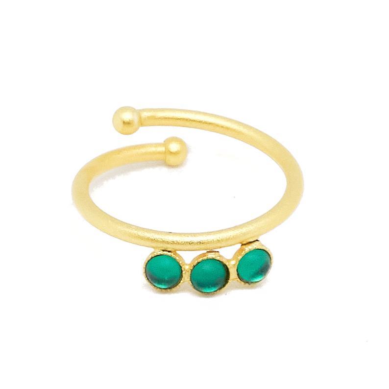 Ring vergoldet mit grünen Acrylsteinen verstellbar