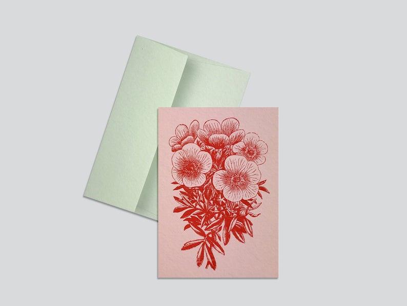 HungryPaper - Klappkarte - Flower Rot-Veilchen