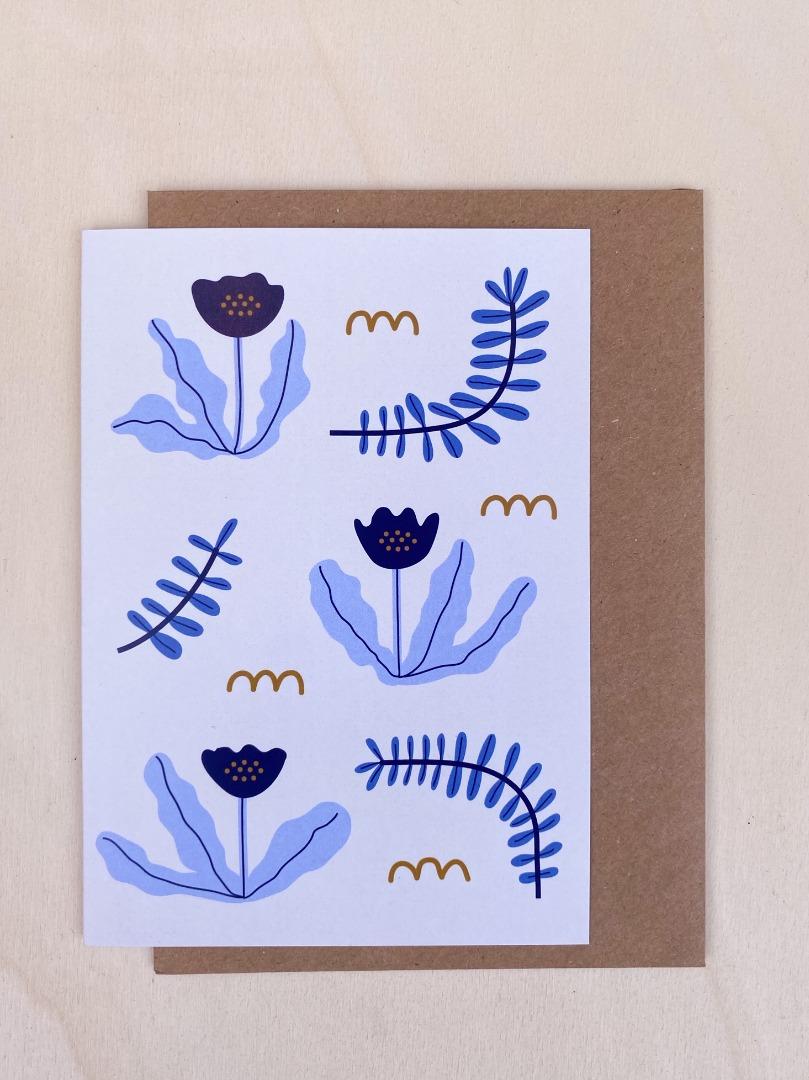 Klappkarte - Blaue Blumen 2