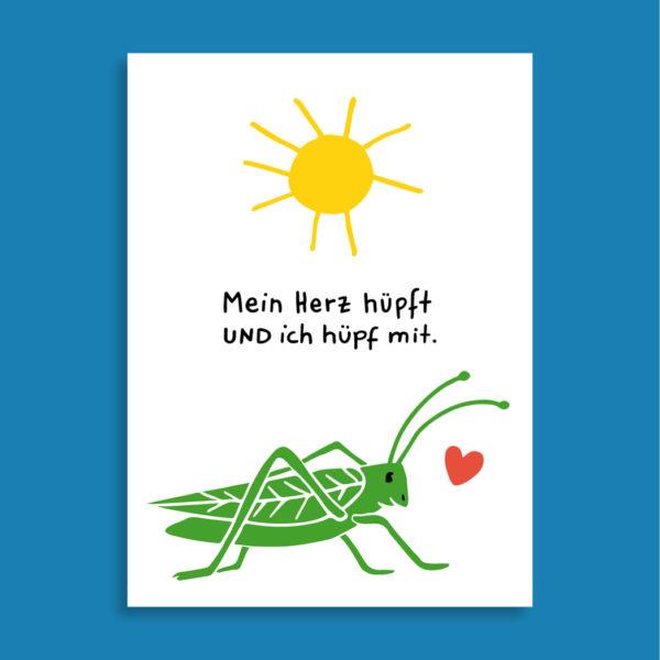 Postkarte Mein Herz hüpft UND ich