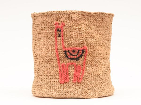 Lama Embroidered Woven Storage Basket