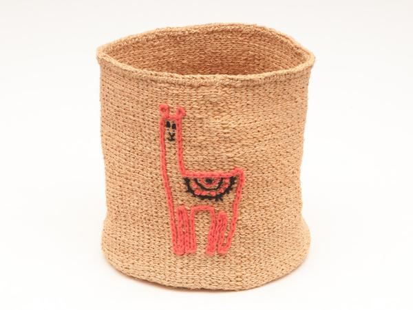 Lama Embroidered Woven Storage Basket 2