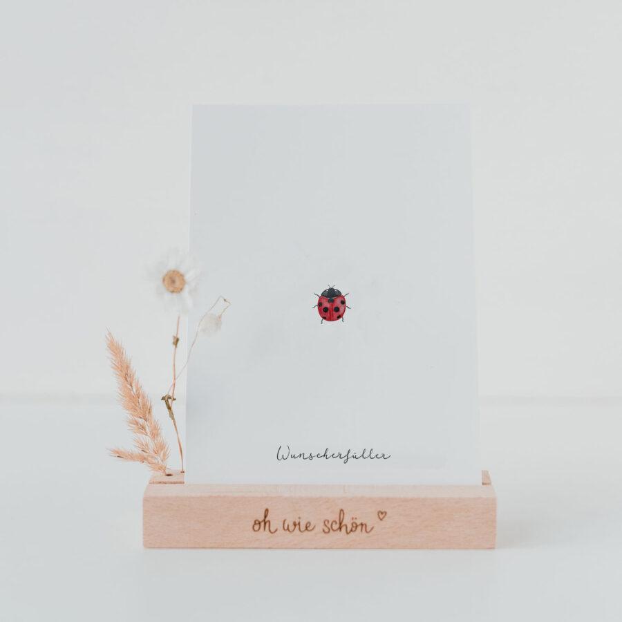 Eulenschnitt - Postkarte - Marienkäfer