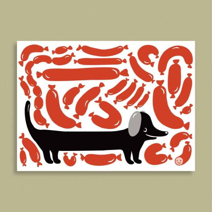 Postkarte - Wurst Dackel