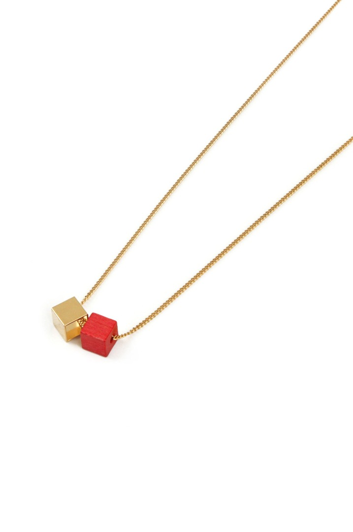 Wood Gold Kette - rot/gold