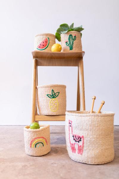 Rainbow Embroidered Woven Storage Basket 2