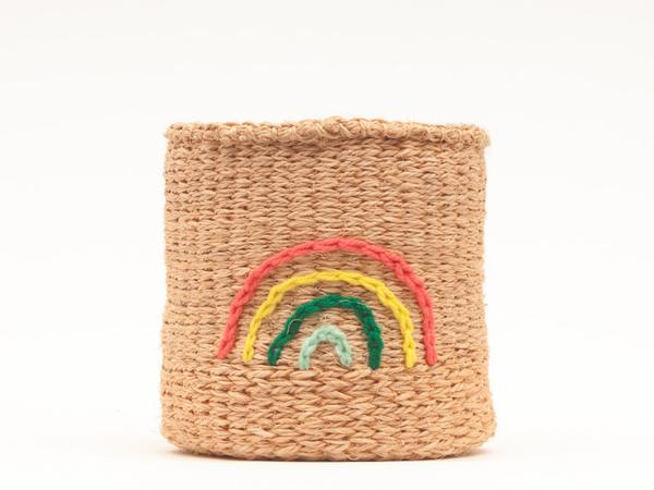 Rainbow Embroidered Woven Storage Basket