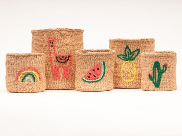 Rainbow Embroidered Woven Storage Basket 4