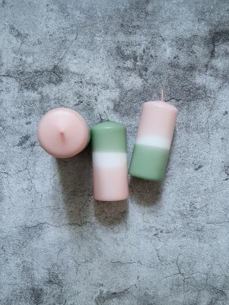 UNIQUE ARTS Stumpen Kerze groß Rosa/Salbei