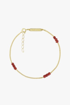 Triple red beads bracelet gold plated