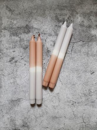 UNIQUE ARTS Kerze groß Nougat-Grau Handgetaucht
