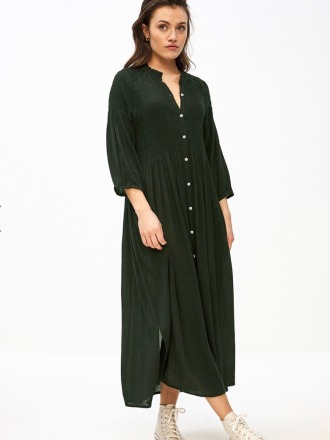 loulou smocked dress forest night by-bar