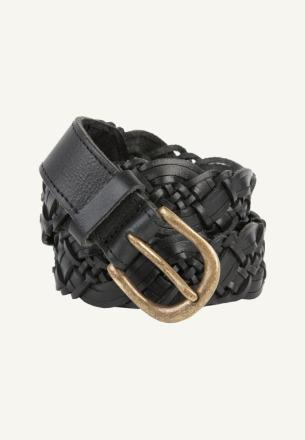 by-bar braided leather belt black by-bar