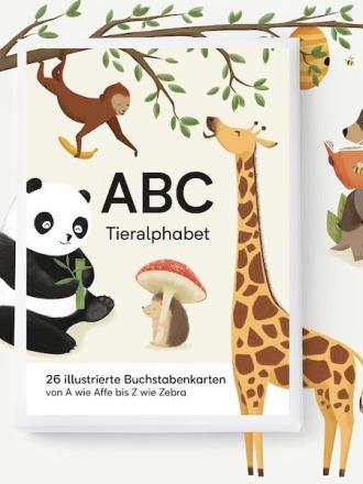 ABC KARTENSET - TIERALPHABET - vierundfünfzig