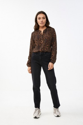 cato faded flower blouse jet black