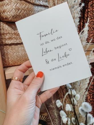 Eulenschnitt - Postkarte - Familie -