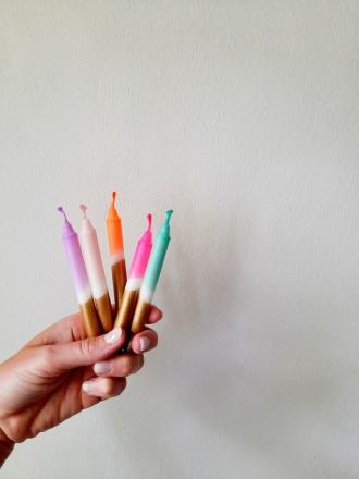 UNIQUE ARTS Geburtstagskerzen Gold verschiedene Farben