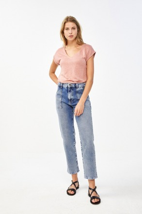 by-bar mila linen top ash rose