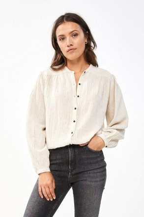 by-bar romee slub blouse sand by-bar