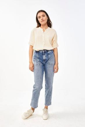 by-bar nanci blouse - sand -