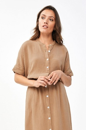 nanci blouse - coffee - by-bar