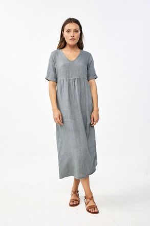 daan linen dress smoke blue by-bar