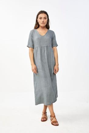 daan linen dress smoke blue by-bar