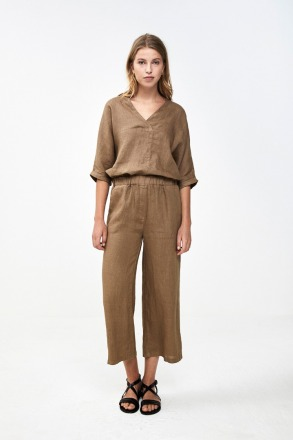 ines linen pant sepia by-bar amsterdam