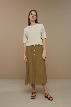 by-bar nine skirt dry khaki by-bar