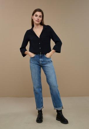by-bar zoe doppia blouse midnight Organic