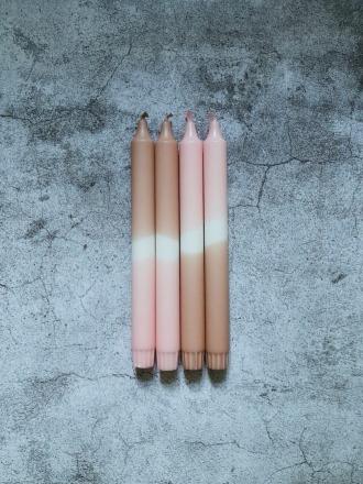 UNIQUE ARTS Kerze groß Nougat-Rosa Handgetaucht