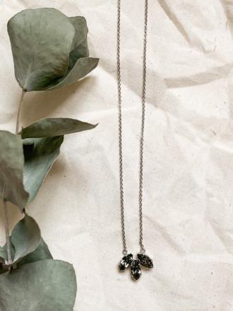 Statement-Kette silbern mit grauen Swarovski Kristallen