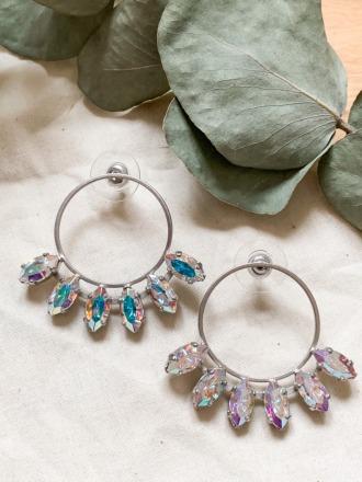 Silberne Statement Ohrringe mit Swarovski Kristallen