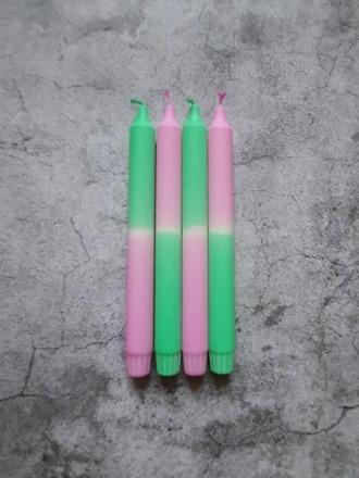 Kerze groß - Purpur-mint - B