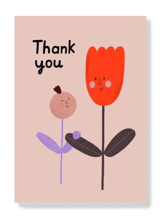 Postkarte - Thank you Blume