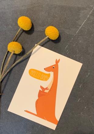vierundfünfzig illustration Postkarte Hallo Baby Känguru