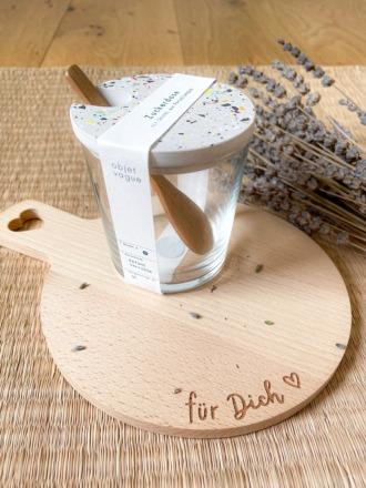 Zuckerglas mit Tarrazzo Deckel weiß-bunt von