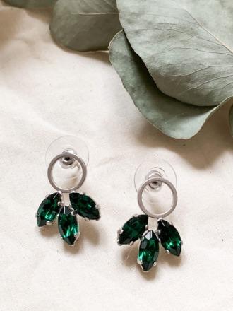 Kleine silberne Ohrringe mit grünen Swarovski