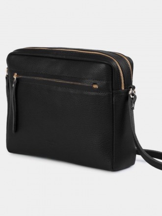 Cubo Grained Black Shoulder Bag Grained