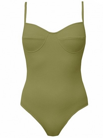 Colette textured swimsuit in olive Clo
