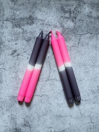 UNIQUE ARTS Kerze groß Schwarz-Pink Handgetaucht